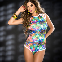 Day Glow Bubble Print Dancers Bodysuit-Rave Wear