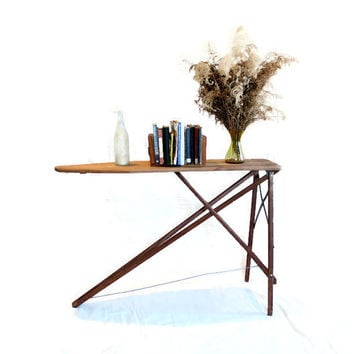 Antique Wood Ironing Board - Repurposed Furniture - Console Table - Farmhouse Decor - Primitive Rustic - Sofa Table
