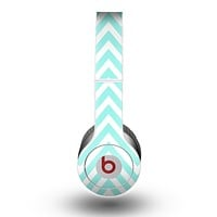 The Light Teal & White Sharp Chevron Skin for the Beats by Dre Original Solo-Solo HD Headphones