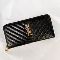 YSL Wallet Louis Vuitton Wallet LV Wallet Yves Saint Laurent Wallet Women Leather Zipper Purse Black