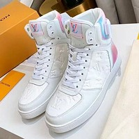 LV High Tops Louis Vuitton Boots Embossed 5D laser colorful back Shoes White Laser