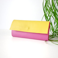Yellow and pink Cruelty-free Vegan wallet / two toned Womens wallet / Color block wallet / Handmade in Italy wallet / Vegan leather wallet