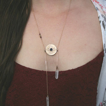daughter of the sun necklace // onyx, garnet // boho necklace, delicate necklace, bohemian jewelry, garnet necklace, onyx necklace