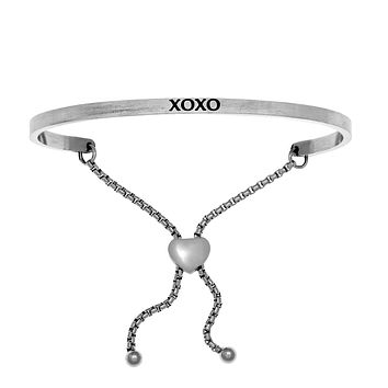 Intuitions Stainless Steel XOXO Diamond Accent Adjustable Bracelet