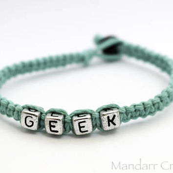 CLEARANCE SALE - 7 inch Geek Bracelet Made With High Quality Teal Hemp Cord, Ready to Ship Gift for Her