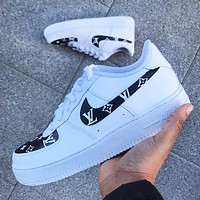 LV Louis Vuitton x Nike Air Force 1 new men's and women's casual trendy sports shoes