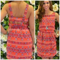 Lost Worlds Red Aztec Cage Back Dress
