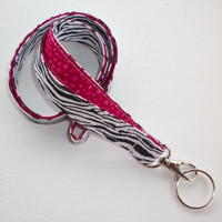 Lanyard  ID Badge Holder - Zebra animal print  - Lobster clasp and key ring - 2 toned hot pink