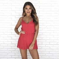 Simmer Down Lace Romper in Red