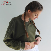 Streetwear women hoodies o neck long sleeve solid green holes fashion sweatshirts knitted new style casual crop top tracksuits