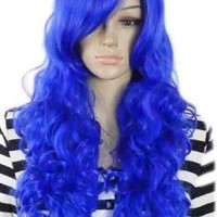 Qiyun Bright Blue Curl Curly Wavy Long Role Play Heat Resistant Fibre Synthetic Hair Full Cosplay Anime Costume Wig