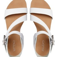 ALDO White Leather Asymmetric Flat Sandals