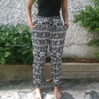 Slim Cut Black Elephant Print Pants Trousers Yoga Harem Pants Hippie Boho Style Clothing Tribal Cloth For Beach Summer Casual Comfy Unique