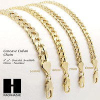 "14K GOLD PLATED CONCAVE CUBAN NECKLACE CHAIN (6-10mm) w/ (8""/9""/24""/30""/36"")"