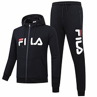 FILA 2018 autumn and winter new plus velvet sports and leisure two-piece black