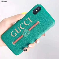 GUCCI 2019 new leather hard shell iphone xs max phone case green