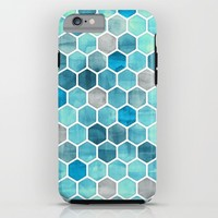Blue Ink - watercolor hexagon pattern iPhone & iPod Case by Micklyn