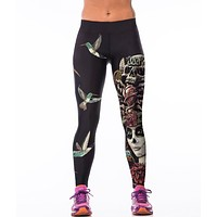 2016 Fashion WORKOUT Bird skeleton 3D Printed skinny sportswear leggings spandex gymnasium Fitness Leggings slim elastic Pants