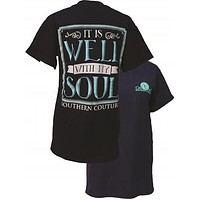 Southern Couture It is Well With My Soul Navy Girlie Bright T Shirt