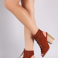 Qupid Perforated Lace Up Cutout Booties