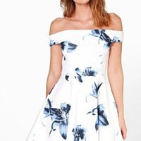 Carmellita Floral Off The Shoulder Skater Dress | Boohoo