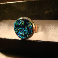 Faux Turquoise Blue Green Druzy / Drusy Ring in Silver - Adjustable (1499)