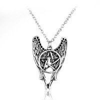 Fashion Movie Supernatural Five-Pointed Star Amulet Wing Pendant Statement Necklace For Unisex