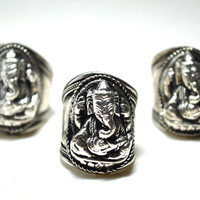 Tibetan Silver Ganesh Ring For Good Luck, Longevity, and Happiness