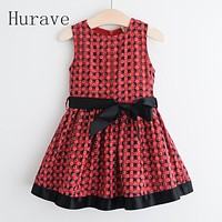 Summer Dresses With sashes Baby Kids Princess Plaid Dresses Children Toddlers Summer Clothes