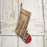 Christmas Stocking, Recycled Burlap Coffee Bags, Rustic, Modern, Industrial, Farmhouse, Bohemian