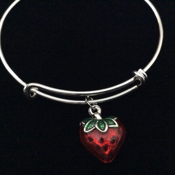 Strawberry 3D Handpainted Silver Expandable Charm Bracelet Trendy Adjustable Collectable Stacking Bangle