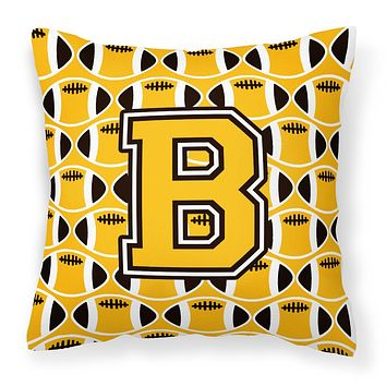 Letter B Football Black, Old Gold and White Fabric Decorative Pillow CJ1080-BPW1414