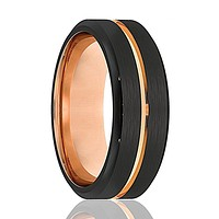 Guardian Black Brushed Tungsten Men's Wedding Band with Rose Gold Groove in Center