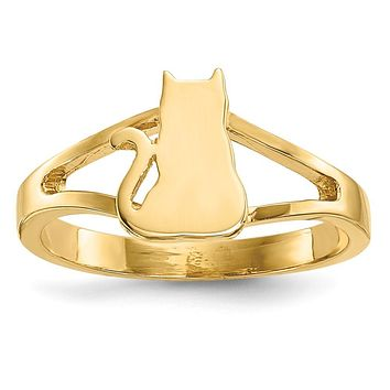 14K Yellow Gold Polished Cat Ring
