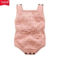born Baby Rompers Cotton Knitted Girls Jumpsuits Sleeveless Toddler Girls Clothes Cute Infant Outerwear
