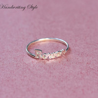 Handcrafted Names Ring, Any Name Of Choice - Anniversary Gift - Sterling Silver