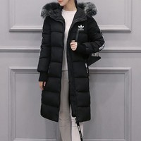 """""""Adidas"""" Women Fashion Stripe Letter Zip Cardigan Fur Collar Hooded Middle Long Section Long Sleeve Cotton-padded Clothes Coat"""