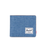 HERSCHEL SUPPLY CO HANK WALLET IN NAVY CROSSHATCH/TAN