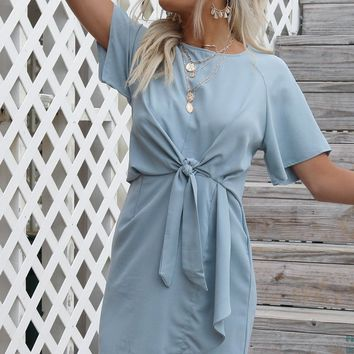 Riviera Sky Blue Front Tie Mini Dress