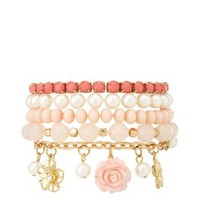 Charm & Bead Bracelets - 5 Pack by Charlotte Russe - Lt Pink
