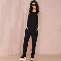 Black Adjustable Halter Strap Jumpsuit