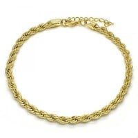 Gold Layered 04.213.0103.10 Basic Anklet, Rope Design, Polished Finish, Golden Tone