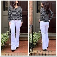 White Flare Legs Jeans