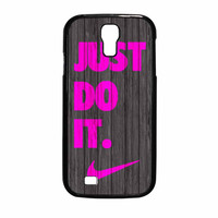 Nike Just Do It Wood Colored Darkwood Wooden Pink Samsung Galaxy S4 Case