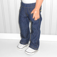 18 inch Doll Clothes Denim Jeans with Decorative Pockets and Gold Stitching American Doll Clothes