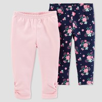Baby Girls' 2pk Floral/Solid Pants - Just One You™ Made by Carter's® Pink/Navy
