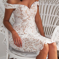 White Off Shoulder Split Back Lace Bodycon Midi Dress