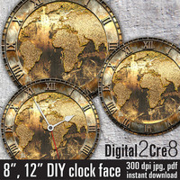 "World map antique Large Clock Face - 12"" and 8"" Digital Downloads - DIY - Printable Image - Iron On Transfer - Wall Decor - Crafts - jpg+pdf"