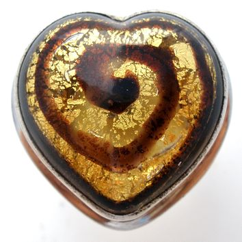 Dichroic Glass Heart Ring Sterling Silver Size 7 Artafacts