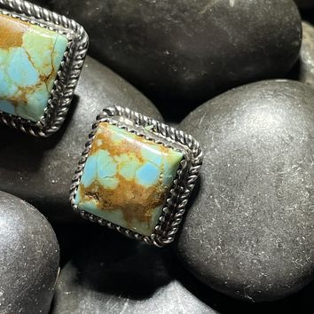 Square Genuine Turquoise and Sterling Silver Stud Earring